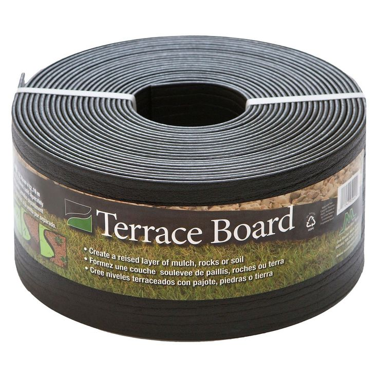 5 x 40' Terrace Board Lawn & Garden Edging Black With 10 stakes - Black - Master Mark Plastics