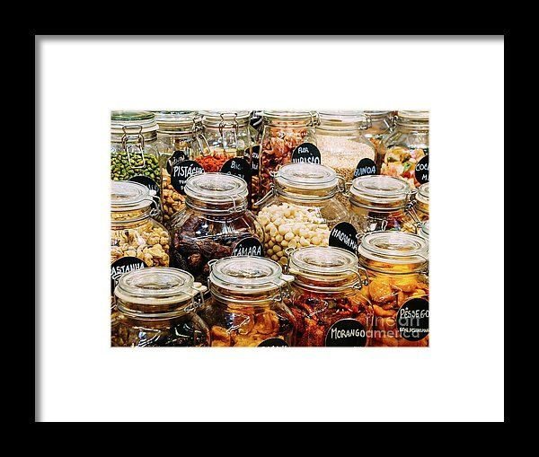 Dried Fruits In Glass Jars For Sale In Market Framed Print