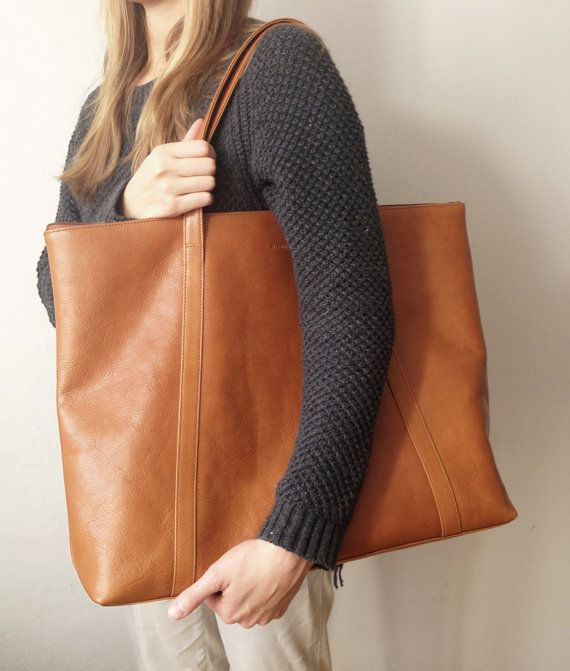 Brown Leather Travel Bag, Oversized leather tote leather tote bag ...