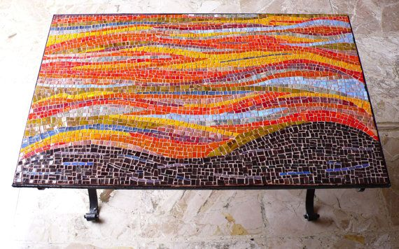 1940's vintage italian black iron table with red, yellow, brown glass mosaic / Table mosaic / Iron table / Interior decor / Furniture on Etsy, $2,041.67