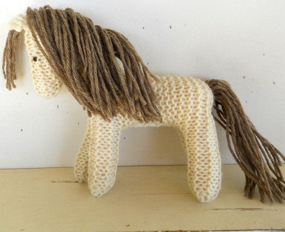 Earth Pony, Waldorf Toy, Stuffed Animal Horse, knitted horse, natural and eco friendly