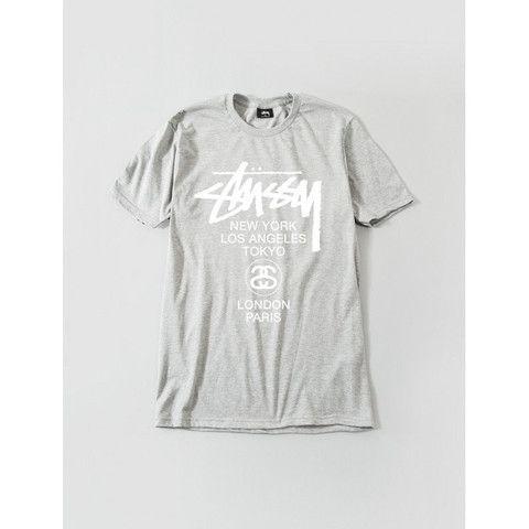 STUSSY WORLD TOUR TEE GREY HEATHER 1903536-GHEA | Solestop.com