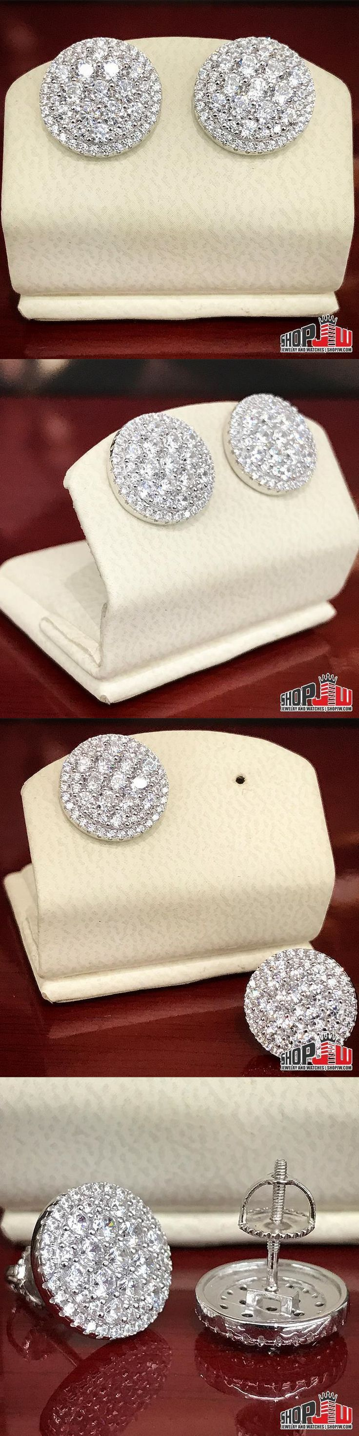 Earrings Studs 14085: Mens 14K White Gold Finish .925 Silver Screw Back Earrings Iced Out Round Pave -> BUY IT NOW ONLY: $55 on eBay!