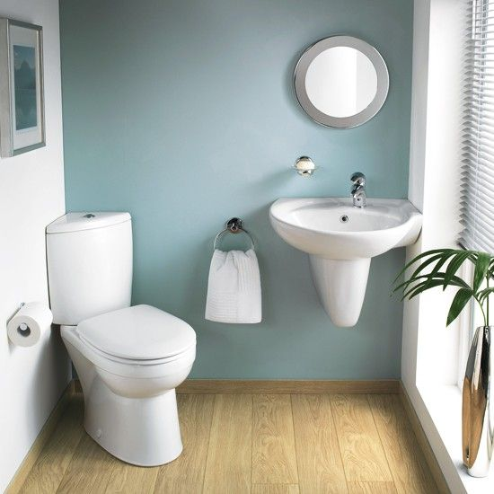 small half bath  - like the corner toilet (easily could turn ours an only have to move water line and not drain).  Put sink in opposite corner and have a bit of room for a cute storage cabinet