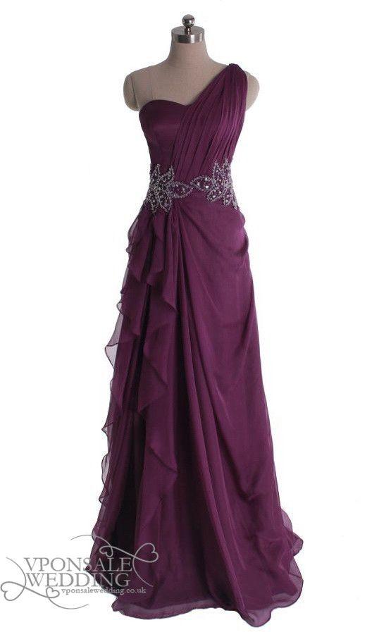 long one shoulder sequins prom dress purple DVP0015 | VPonsale Wedding Custom Dresses