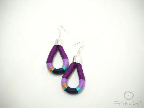 Cotton Earrings Drop  MilleGiri Spring  Purple Rain  by FridaWer