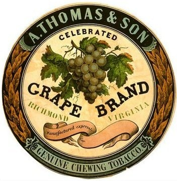A. Thomas & Son Celebrated Grape Brand Genuine Chewing Tobacco. Richmond, Virginia. This chewing tobacco label shows a bunch of grapes and was used by A. Thomas & Son, circa 1860.