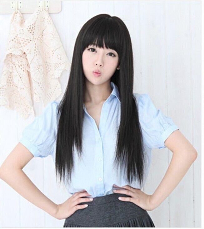 Прямые черные волосы
