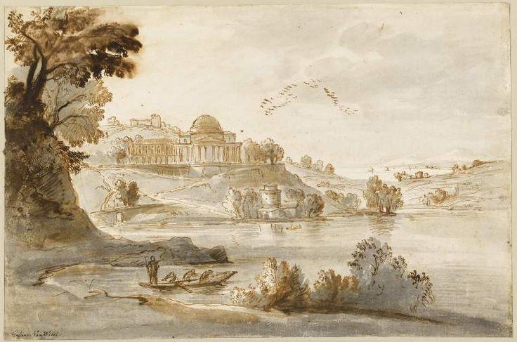 Wittel, Gaspar van (draughtsman) An Italian landscape with classical buildings