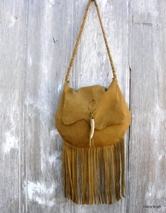 Rustic Leather Long Fringe Bag in Mustard Brown by Stacy Leigh Ready to Ship