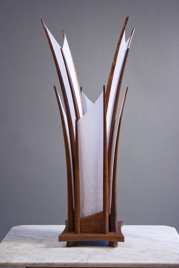 Beautifully hand-carved table lamp.  Walnut wood + shoji paper.
