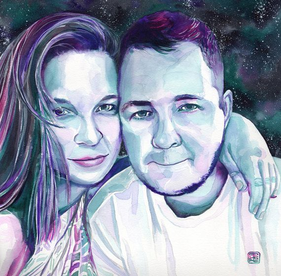CUSTOM COUPLE PORTRAIT painted with watercolor  by SesCaniques