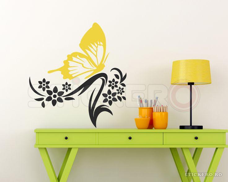Floare cu fluturas - sticker decorativ
