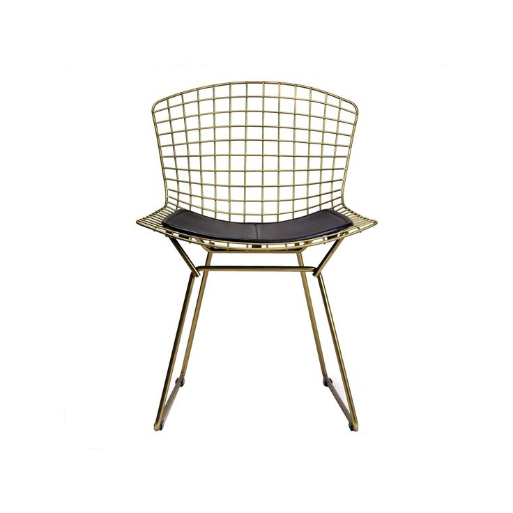 Aspen Modern Classic Wire Dining Chair with Champagne (Beige) Finish Steel and Leather Seat Pad - Black - Aeon