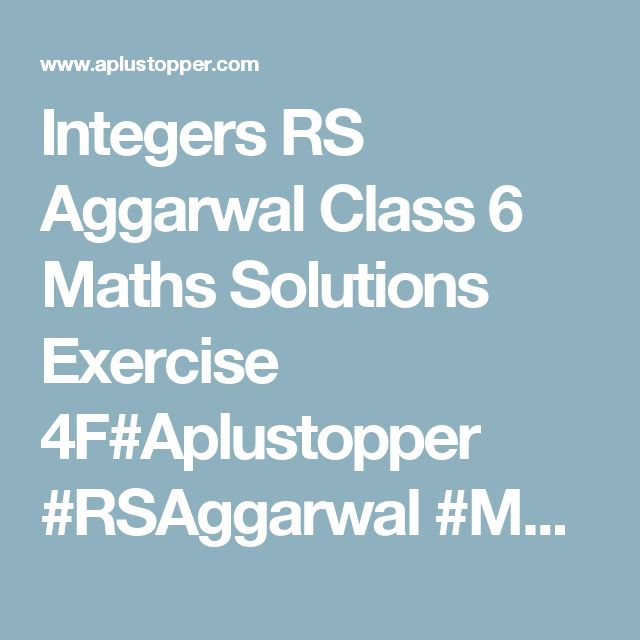 93 best RS Aggarwal Class 6 Maths Solutions images on Pinterest ...