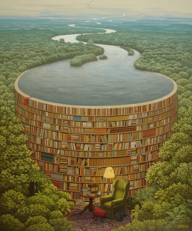 The book dam ~ painted by Jacek Yerka