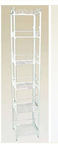 "5 Tier Book Case Cd Rack Shelf Unit White Metal #AD6176-WH by HP. $92.50. Dimensions: 11 4?5"" x 10 5?8"" x 63""H. White Metal Bookcase. 5 Tiers Shelves. Nice Ornate Design. Easy assembly. A unique bookcase, magazine, cd, art, plant display unit that is new on the market. It is nice and compact which makes it perfect for small spaces like bedrooms, entryways, apartments, and dorms. Minimize clutter by organizing you den, home office, you name it. This unit fits nicely in any r..."