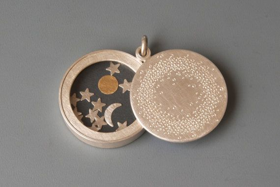 Big Sterling Silver locket Sun Moon and Stars modern by mabotte