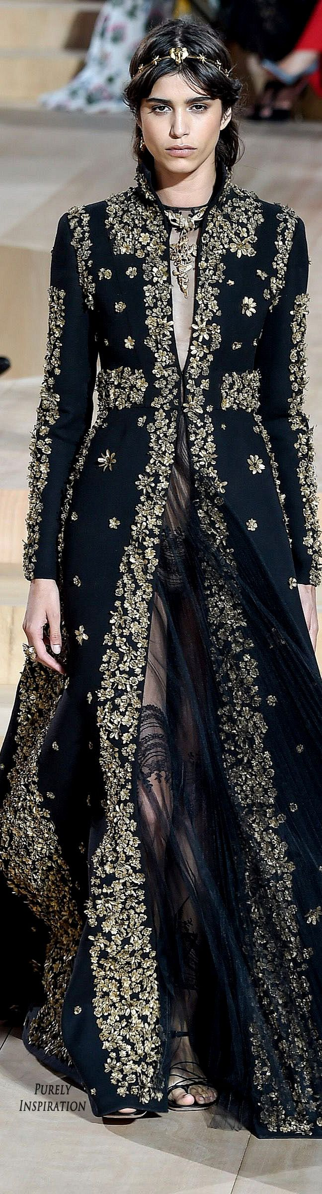 Valentino ~ Haute Couture Allover Silver Applique on Black Full length Top Coat 2015