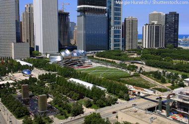 Aerial View of Millennium Park in Chicago Illinois