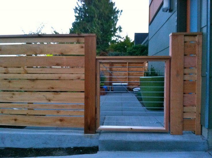 Horizontal wood fence and gate