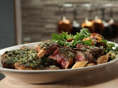 Broiled Porterhouse with Roasted Garlic and Lemon - Recipe courtesy Michael Symon, Show: Symon's Suppers,  Episode: Steak Night