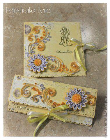Открытка День рождения Свадьба Квиллинг Открытки к торжеству Бумага Бумажные полосы фото 3