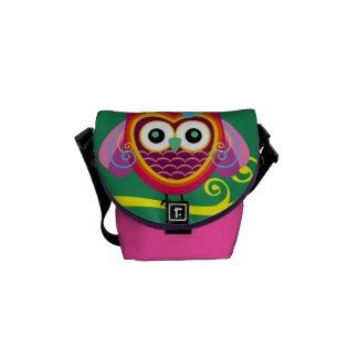 Retro Colorful Owl Design Messenger Bag