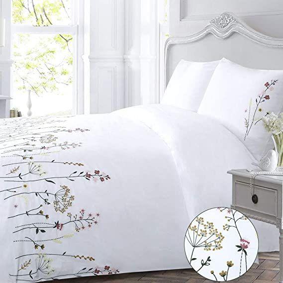 Amazon Com Floral Duvet Cover Set White King Flower Flowered Spring Elegant Pink Country Girls Pretty Bo Flower Duvet Cover Floral Duvet Sets Pink Duvet Cover