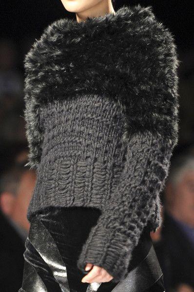 Inspiration - Alberta Ferretti F/W 2012 ...using flat yarn with fur or heavily textured yarn...again simple shape, tone on tone