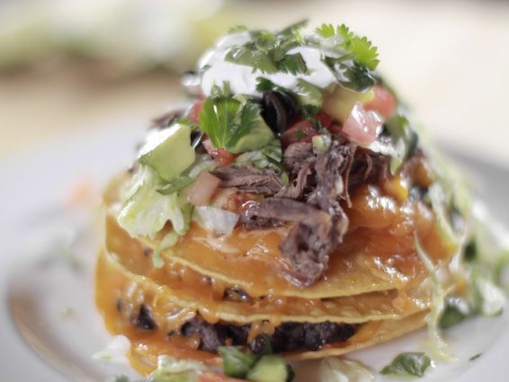 Brisket Tostadas Recipe : Ree Drummond : Food Network - FoodNetwork.com (use pulled pork instead)