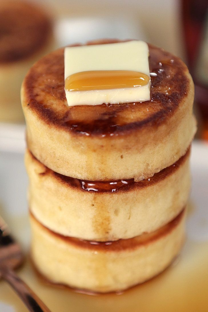 Japanese-Style Pancakes. I want to go to here. Ingredients: eggs, buttermilk, sugar, vanilla, salt, flour, baking powder, baking soda, and vegetable oil.