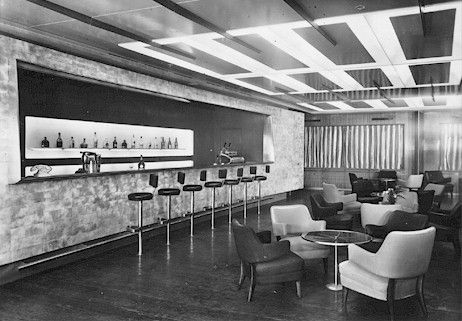 The first class bar onboard the Andrea Doria, the most luxurious ship of her time, in the 1950's