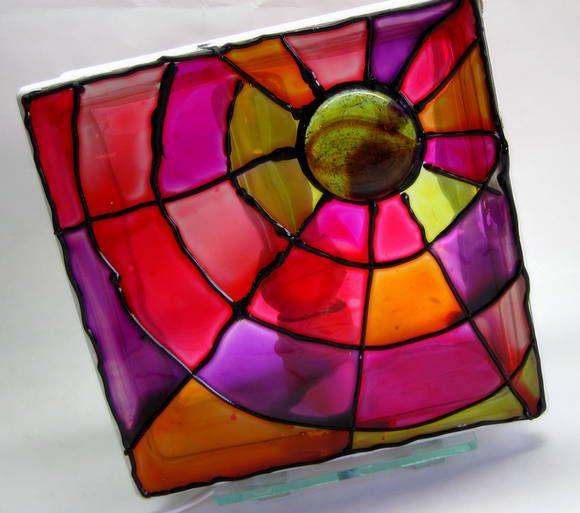 Luminária em  vidro  Falso Vitral - Pintado á mão