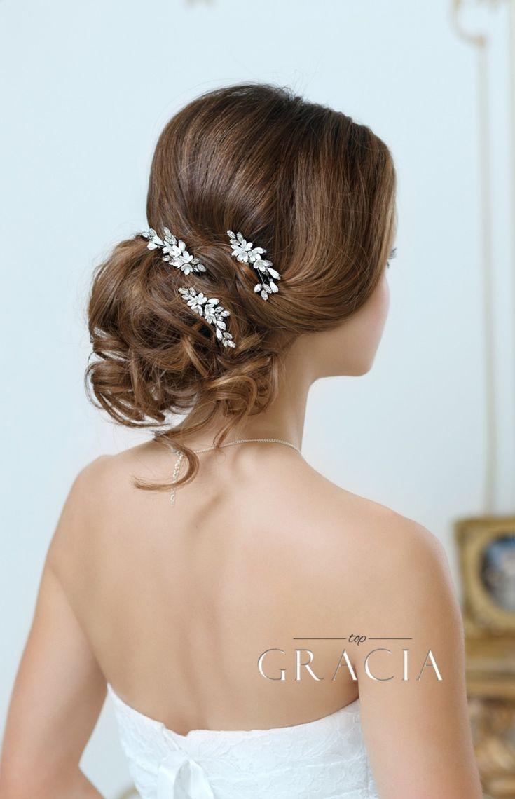 KALYPSO Flower Bridal Hair Pins With Crystals Rhinestone Wedding Headpiece by TopGracia #topgraciawedding #bridalhairpins #weddinghairpins #flowerhairpins #floralweddingheadpiece