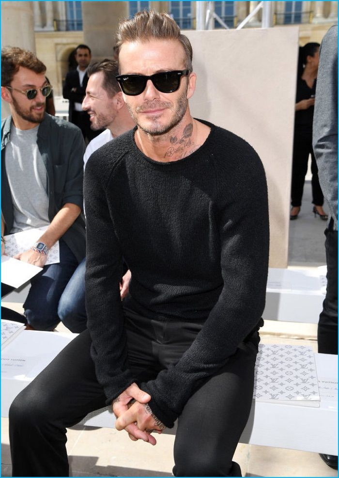 June 2017: Sitting front row at Louis Vuitton's spring-summer 2017 men's show, David Beckham rocks Ray-Ban's Original Wayfarer sunglasses.