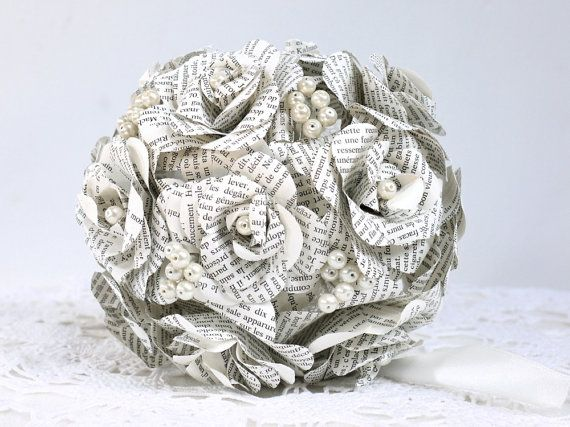 Hey, I found this really awesome Etsy listing at https://www.etsy.com/listing/181577231/wedding-bouquet-paper-roses-book-flowers