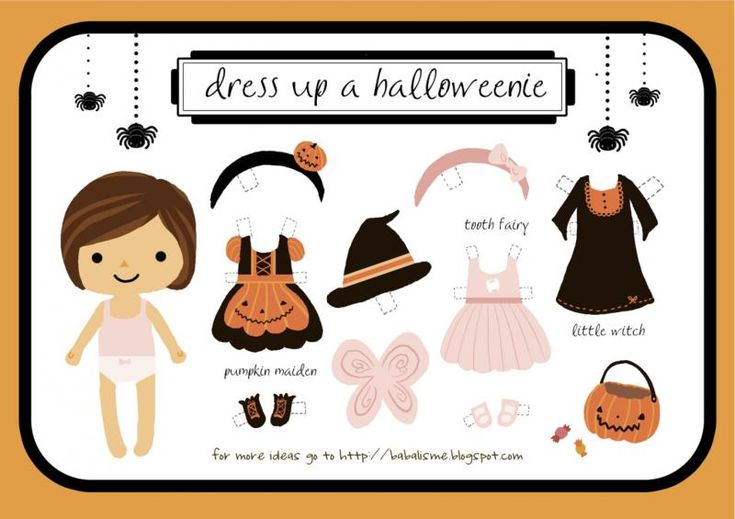 Free printable: Halloween paper dolls. Cute alone, or turn it into a card.