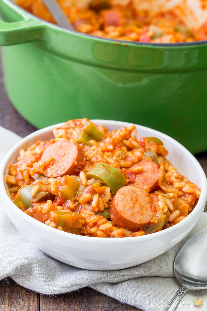 This easy one pot jambalaya comes together quick and is a classic Louisiana dish full of flavor with chicken, sausage, rice and the right amount of spice!
