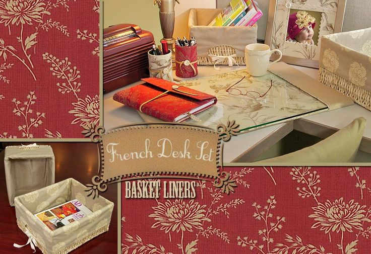 French Desk Set Basket Liners ~ Blogger says once you learn this pattern, you'll be able to make liners to fit any size.