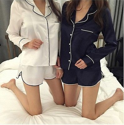 Women Pajamas Set Silk Sleepwear Nightgown Long Sleeve Button V Neck Outerwear