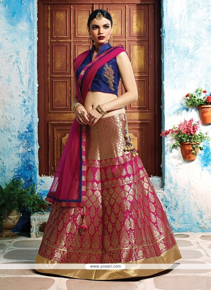 Opulent Embroidered Work Banarasi Silk A Line Lehenga Choli Model: YOLEN3177
