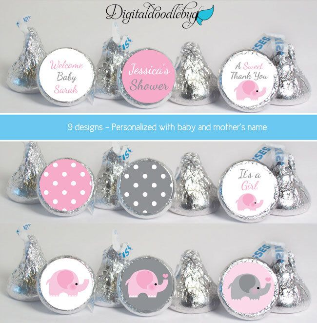 Baby Shower Favors Stickers For Mini Candy (No.K40) Elephant Girl Polka Dots