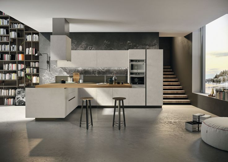 #Kitchen Way with ash resin melamine doors. #Island hood with the same finish as the doors. Top and back panel in raven sand #quartz. #cucinemoderne #cucineadangolo #Snaidero