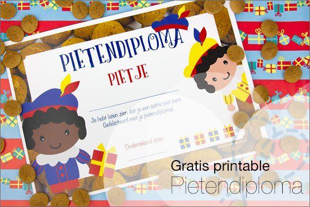 Gratis printable #2: Pietendiploma, speciaal voor alle sinterklaas liefhebber heb ik een zelf ontworpen pietendiploma gemaakt. Deze kun je gratis downloaden in het artikel op mijn blog :-).