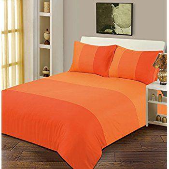 Single Bed Duvet / Quilt Cover Bedding Set Lexie Orange Plain 3 Tone