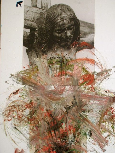 arnulf rainer - christusübermalung (overpainting of christ), 1982-1984, oil and photo collage on canvas.