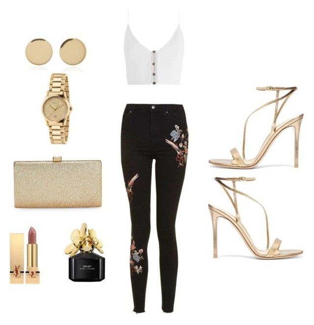 """Golden girl"" by lilasiaan on Polyvore featuring Topshop, Zimmermann, Gianvito Rossi, La Regale, Yves Saint Laurent, Marc Jacobs, Magdalena Frackowiak, Gucci, outfit and gold"
