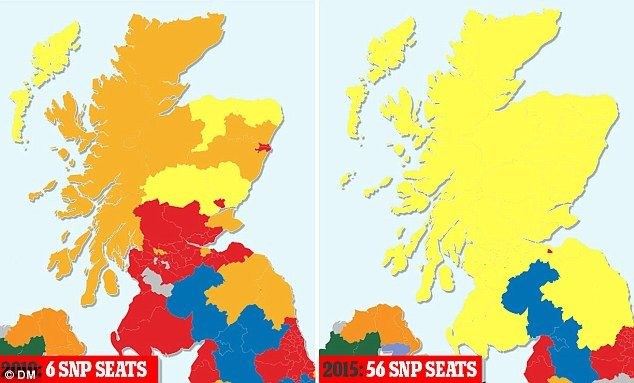 Yellow tide: This chart shows how the SNP won just six seats in Scotland five years ago (l... yippee!