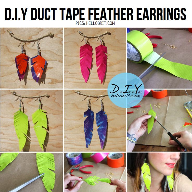 DIY Duct tape feather earrings